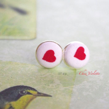Heart stud earrings / Red white studs / Cute jewelry / fabric post