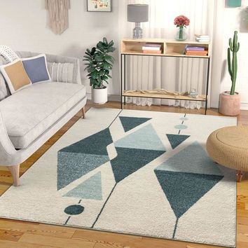 7027 Blue Ivory Abstract Contemporary Area Rugs