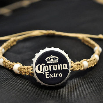 Blue and White Corona Extra Recycled Beer Cap Hemp Fully Adjustable Size Bracelet - Beach, surfer, unique jewelry