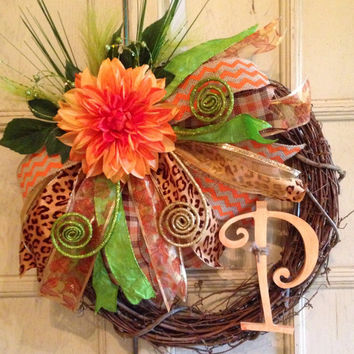 Decorative Fall Monogram Grapevine Wreath, Fall Floral Wreath, Grapevine Floral Wreath, Monogram Wreath, Thanksgiving Decoration
