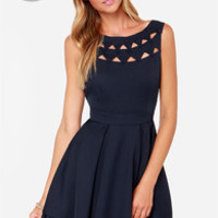 LULUS Exclusive Flirting with Danger Cutout Navy Blue Dress