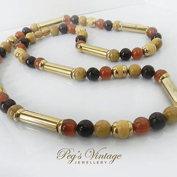 Beautiful Vintage Lucite Bead Necklace, Gold Amber Bead Necklace, Gold Tube Bead Necklace