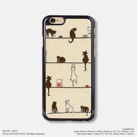 Cute Cartoon Cat iPhone 6 6Plus case iPhone 5s case iPhone 5C case iPhone 4 4S case 072