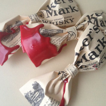 Mens Bow Tie and small boutonnière pin up-cycled from Makers Mark bourbon bottle labels- Made to Order