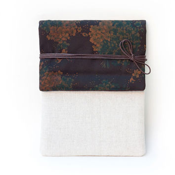 Limited Version -  Dark Blue Tied Floral Silk Signature Cotton Kindle Cover or iPad Case, Made to Order