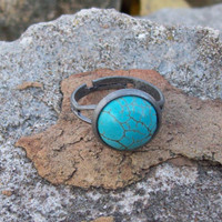 Turquoise in Antique Silver Tone Brass Adjustable Ring - Cabochon Ring