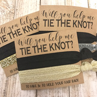 Bridesmaids Gift  Hair Ties | Thank you for helping us tie the knot