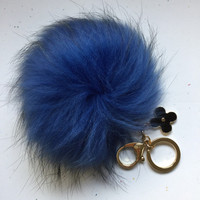 Spring color tone Raccoon Fur Pom Pom luxury bag pendant + flower keychain ring chain bag charm in royal blue with natural black markings