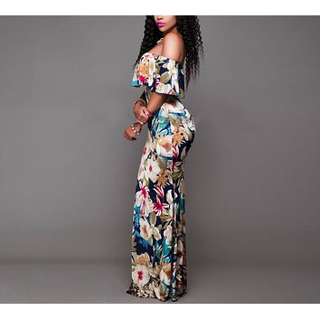Women Boho Maxi Dress Summer Style Off Shoulder Ruffled Floral Print backless Long Dresses Feminine Floor Length Gown