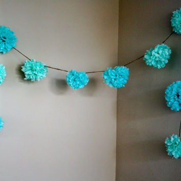 Aqua Love ... diy tissue paper pom garland // nursery // wedding decorations // birthdays // party decorations
