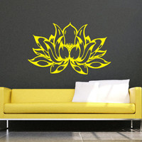 Wall Decals Lotus Flower Vinyl Sticker Decal Art Home Decor Mural Mandala Ornament Indian Geometric Moroccan Pattern Yoga Namaste Om AN394