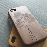 Walnut wood iphone 5 case iphone 5s case three roses iphone 5 case
