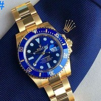 Rolex Personality Ladies Women Watch Business Sport Watches Wrist Watch Gold Watchband Blue Dial I