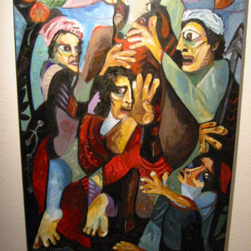 Impressionist Religious Inspire Oil On Canvas Signed Salimi