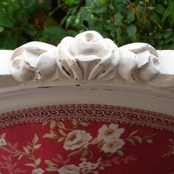 original French Antique Chair,Carved roses & Cherubs upholstery,chippy white paint.Paris Apartment
