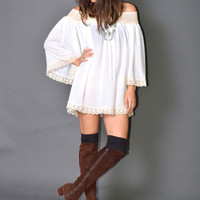 White Cotton Gauze Mini Dress