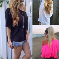 Plus Size Women Off-shoulder Loose Short Sleeve Chiffon Blouse Tops Summer Shirt = 1956751364