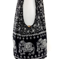 Women bag Handbags Cotton Printed bag Elephant bag Hippie Hobo Boho bag Shoulder bag Sling bag Messenger bag Tote bag Crossbody Purse Black