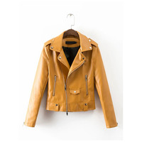 MUSTARD YELLOW FAUX LEATHER JACKET