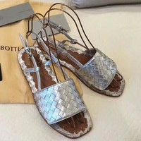 BV Bottega Veneta 2018 summer new square head strap woven sandals F-RCSTXC