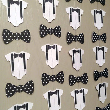 Bow Tie, Suspender Onesuit Paper Garland Double-Sided Black and White Polka Dot Streamers, Baby Shower, Birthday Party, Baby Nursery