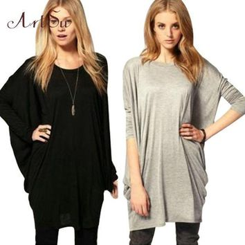 New Batwing Sleeve Long T Shirt Women Tops Fashion 2015 Winter Shirts Long Sleeve Camisetas Plus Size Ropa Mujer Tee Basic Yj806