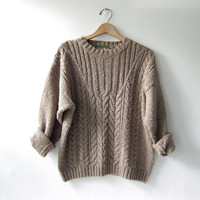 vintage cable knit sweater. light brown chunky sweater. woven cotton & linen sweater