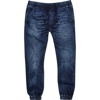 River Island MensDark wash denim drawstring joggers