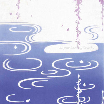 Japanese Tenugui Towel Fabric - Wisteria & Pond Traditional Art Design, Cotton 100%, Wall Art Hanging, Gift Wrapping, Headband, Skirf - t006