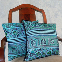 Boho Pillows Embroidered Teal And Black Hmong Cushion Cover With Fringe Or Without 16 inch