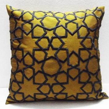 mustard yellow and charcoal grey morrocan tile decorative embroidered throw pillow cover-16x16inches