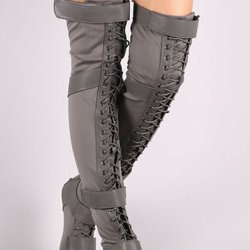 Liliana Hook And Loop Lace Up Strappy Over-The-Knee Flat Boots | UrbanOG