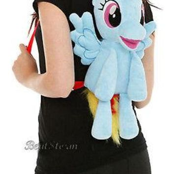 Licensed cool NEW My Little Pony Rainbow Dash PLUSH School Backpack Book Bag W/Wings & Zipper