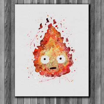 Calcifer poster, Howl's Moving Castle - Art Print, instant download, Watercolor Print