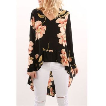 Autumn Style 2018 Women Blusas Casual Loose Chiffon Blouse Shirts Bohemian Floral Printed Long Kimono Outwear Plus Size
