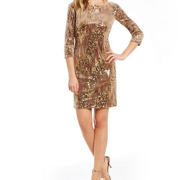 Eliza J Embellished Sequin Velvet Dress | Dillards