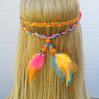 GOOD VIBRATIONS neon colored braided hippie headband with feathers