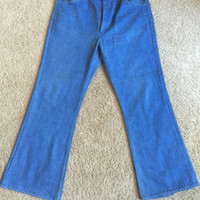 1970s bell bottom light denim jeans, vintage swag, hippy gift, brand new vintage, 34x30 flared leg, can't find brand name