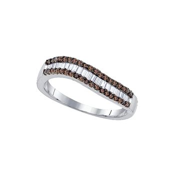 Sterling Silver Womens Round Baguette Cognac-brown Colored Diamond Band Ring 5/8 Cttw