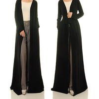 Long Kimono Cardigan / Long Sleeve Cardigan / Black Cardigan Open Abaya  - Free Size Fits S/M/L (6359)