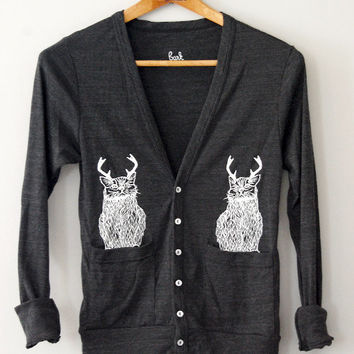 The Original Wild Cat-a-lope - funny cat in pockets antlers Almost Black Cardigan- by Bark Decor