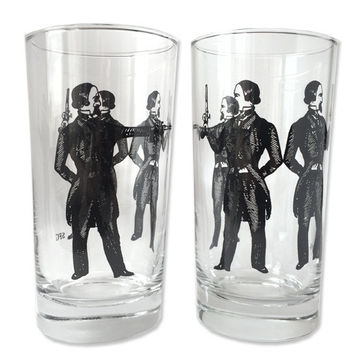 12 oz. Drinking Glasses Gun Men