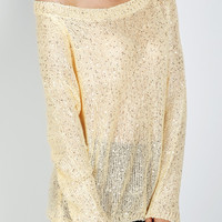 Beige Sequins Detail Cut Out Tie Back Long Sleeve Knit Sweater