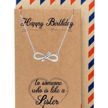 Eyna Birthday Infinity Arrow Pendant Necklace, Friendship Gifts, Birthday Gifts for Women, comes with Greeting Card