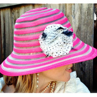 Flirty Swirl Pink Hat with Polka Dot Flower and Feathers, Upcycled