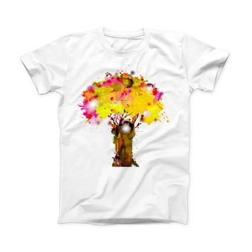 The Watercolor Splattered Tree ink-Fuzed Front Spot Graphic Unisex Soft-Fitted Tee Shirt