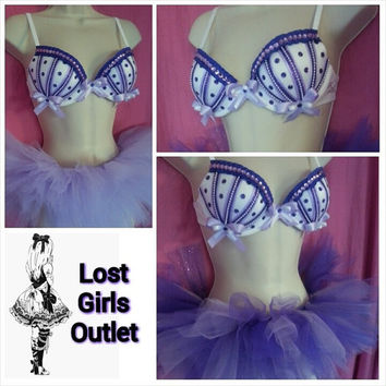 FREE SHIPPING: Custom purple Rave Outfit 34B/32C