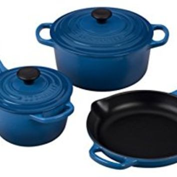 Le Creuset of America 5 Piece Signature Enameled Cast Iron Cookware Set, Marseille