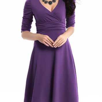 Casual Surplice Plain Skater Dress With Ruched Detail