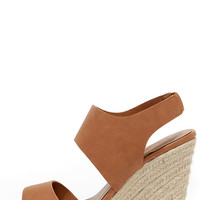 Jute Force Tan Espadrille Wedges